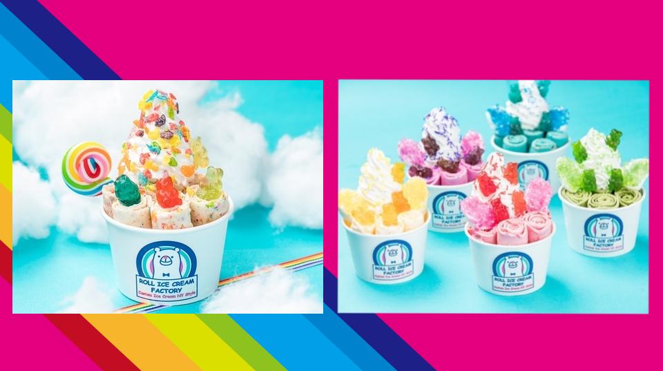 """ROLL ICE CREAM FACTORYにカラフルキュートな""""レインボーカラー""""のメニューが登場👧🍨🌈"""