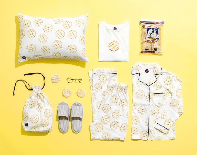 リアルで可愛い💓甘塩っぱいおせんべい「雪の宿」が、パジャマやきんちゃくなど雑貨に変身!