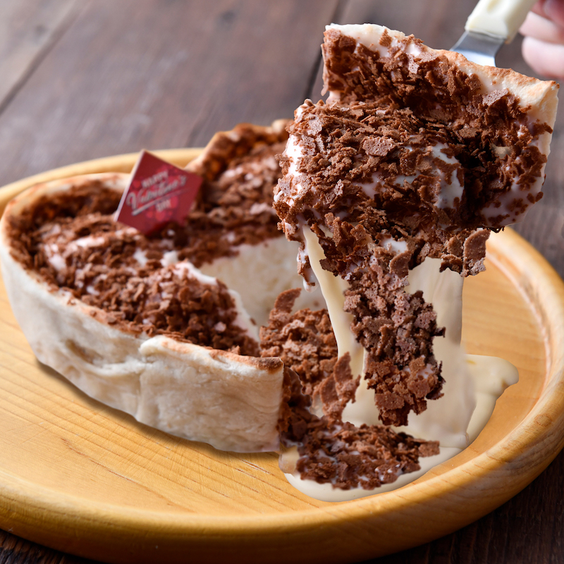 アイスとチーズがとろ~り溢れ出す!「とろける♡シカゴピザ」バレンタイン期間限定で登場💝