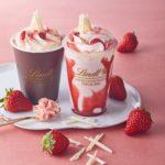 【リンツ ショコラ カフェ】なめらかな味わいの、 見た目もかわいい新チョコレートドリンク🍫 「ストロベリー」を4月1日から提供開始🍓♡