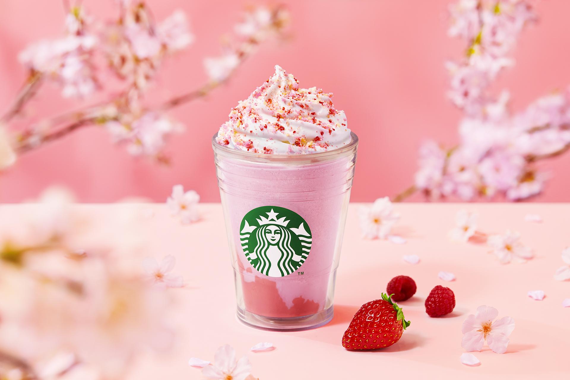 甘酸っぱいストロベリーの風味をもっと楽しめる『さくら咲いた ベリー フラペチーノ(R)』 3月24日より発売🌸🍓